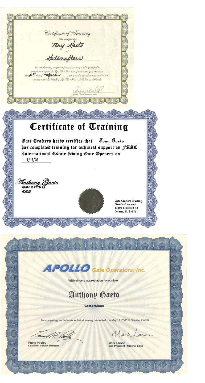 Tony Certificate